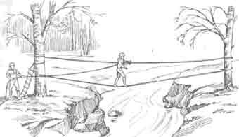 Переправа реки по веревке